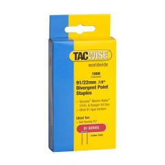 Tacwise Type 91 - 22mm Divergent Point Staples (1,000 Pack) - 0288