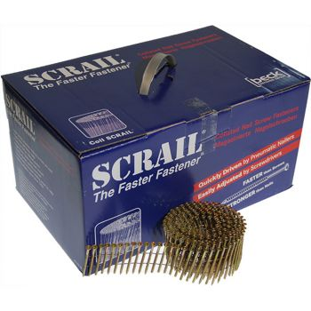 Scrail Coil Nails Wire Collated 2.8/3.2 75mm - Electro-Galvanized (1000 Pack)