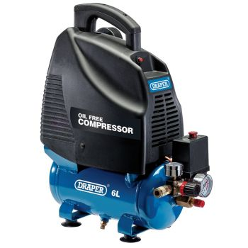 Draper Oil-Free Air Compressor, 6L, 1.1kW - 24974