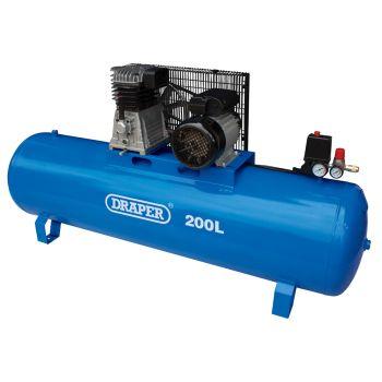 Draper 200L Stationary Belt-Driven Air Compressor (2.2kW) - 55313