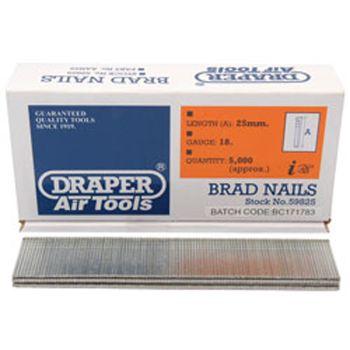 Draper 25mm Brad Nails (5000) - 59825