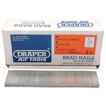 Draper 30mm Brad Nails (5000) - 59826