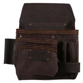 DWG Dark Brown Oil Tan Leather Single Multi-Pocket Work Pouch - DWGNB30003