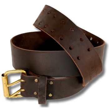 DWG Dark Brown Oil Tan Leather Wide Double-Buckle Work Tool Belt for Pouches - DWGWB30003