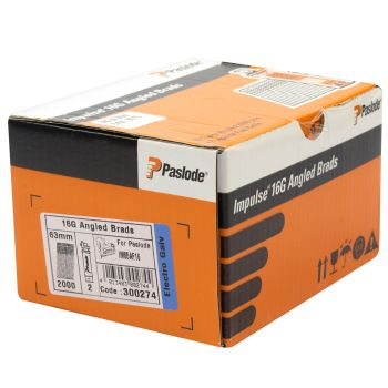 Paslode IM65A and IM250A Angled Brad Nails F16 - 51mm Electro Galvanised - 2 Fuel Cells - 2,000 Pack