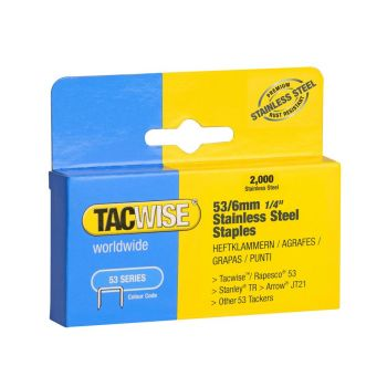 Tacwise Type 53 - 6mm Stainless Staples 2000 pack - 1268
