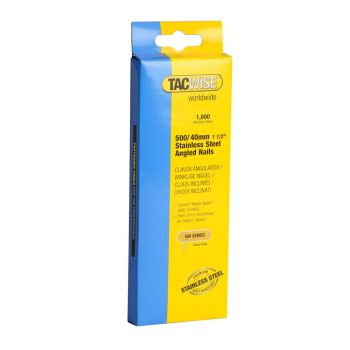 Tacwise Type 500 - 40mm 18G Stainless Angled Nails 1000 Pack - 1134