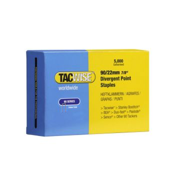 Tacwise Type 90 - 22mm Narrow Crown Divergent Point Staples (5