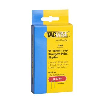 Tacwise Type 91 - 18mm Divergent Point Staples (1