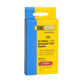 Tacwise Type 91 - 30mm Divergent Point Staples (1