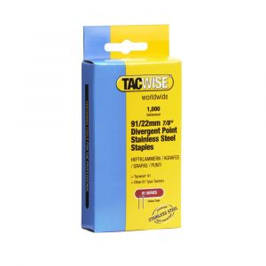 Tacwise Type 91 - 22mm Divergent Point Stainless Staples 1000 Pack - 1070