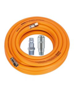 "Air Hose 10m x Ø8mm Hybrid High Visibility with 1/4""BSP Unions and Hi-Flow Type Coupling & Adapter"