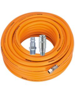 "Air Hose 20m x Ø8mm Hybrid High Visibility with 1/4""BSP Unions and Hi-Flow Type Coupling & Adapter"