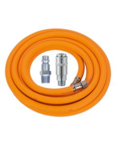 "Air Hose 5m x Ø8mm Hybrid High Visibility with 1/4""BSP Unions and Hi-Flow Type Coupling & Adapter"