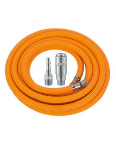 "Air Hose 5m x Ø8mm Hybrid High Visibility with 1/4""BSP Unions and PCL Type Coupling & Adapter"