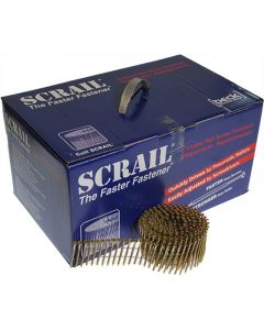 Scrail Coil Nails 3.1/3.9 x 88mm Wire Collated - Electro-Galvanized - Torx Head (1000 Pack)
