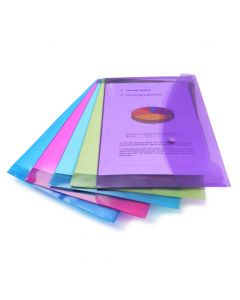 Rapesco Bright Transparent Popper Wallet, Foolscap (assorted colours) - 0688